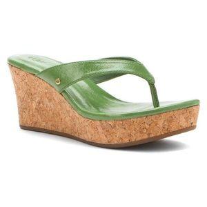 UGG NATASSIA GREEN WEDGE SANDALS! New! Sz 9